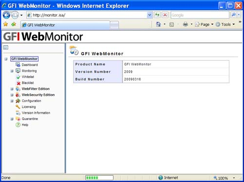 GFI WebMonitor Main Screen