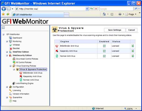 GFI WebMonitor Virus and Spyware Protection